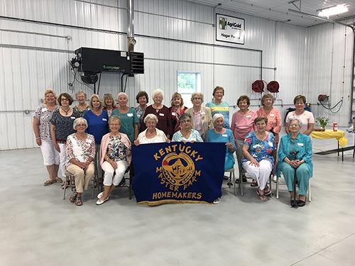 Twenty-two members of the Kentucky Master Farm Homemakers Guild attended the summer meeting hosted by Georgia Hager and Janet Hobbs at Hager Farms in Meade County, August 2019.