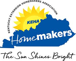 "The Sun Shines Bright Logo(blue kentucky with ""Homemakers"" written inside, with sun behind with ""KEHA"" inside)"