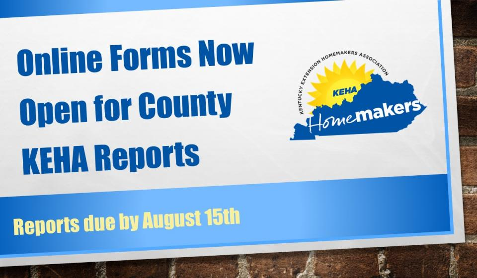 County KEHA Reports Due Electronically for 2020