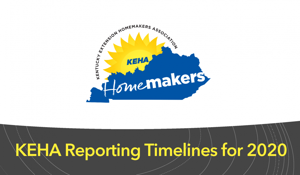 KEHA Reporting Timelines for 2020